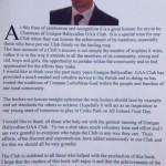 Pah Hayes Chairman GBC GAA Club note